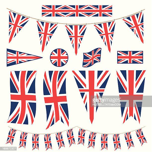 british bunting pennants and flags - all european flags stock illustrations