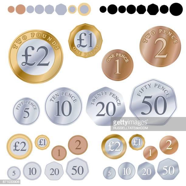 british coin set - pound symbol stock illustrations