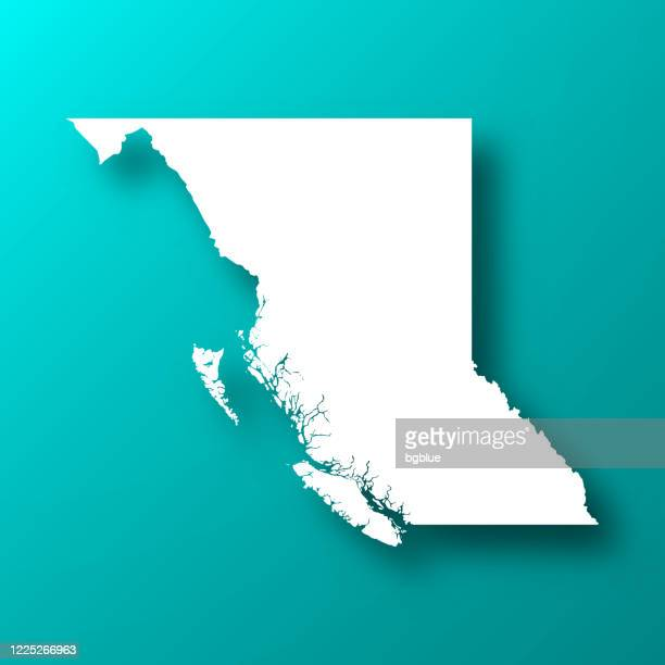 british columbia map on blue green background with shadow - british columbia stock illustrations