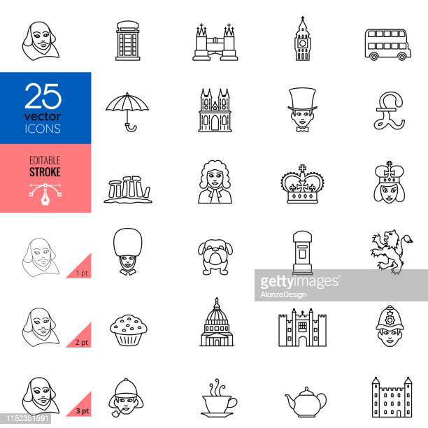 british england culture line icons. editable stroke. - london england stock illustrations