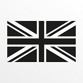 British flag black and white icon. United Kingdom and Great Britain national symbol. Vector illustration.