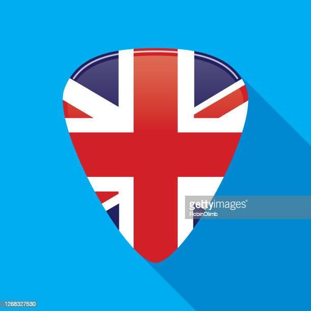 british flag guitar pick icon - british culture stock illustrations