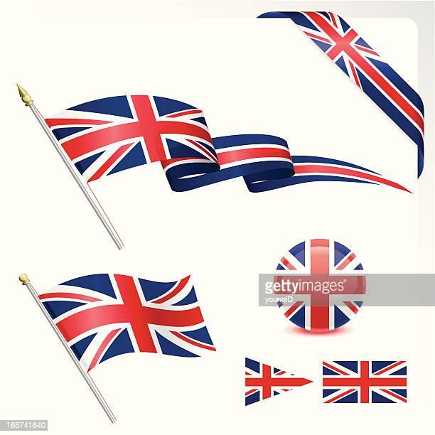 british flag set - union jack stock illustrations