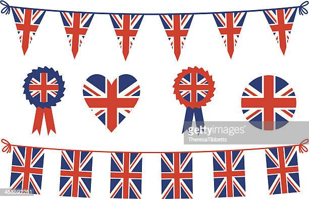 british flags and bunting - british culture stock illustrations