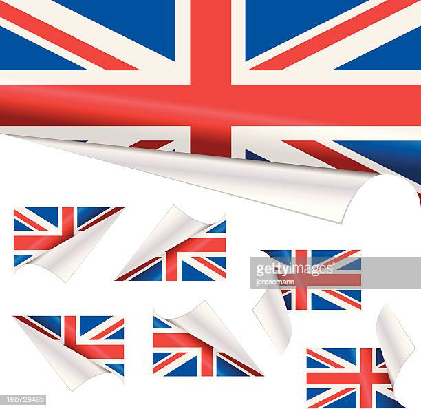 British Flags behind Curled Paper