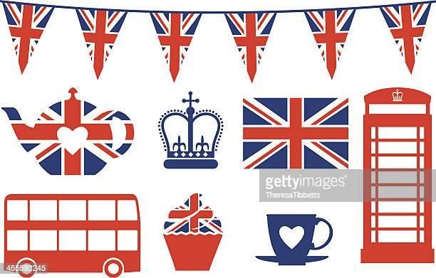 british icons - british culture stock illustrations