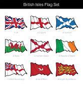 British Isles Waving Flag Set