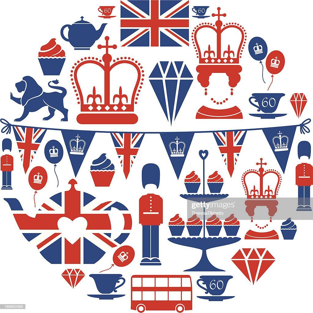 British Jubilee Icon Set : stock illustration
