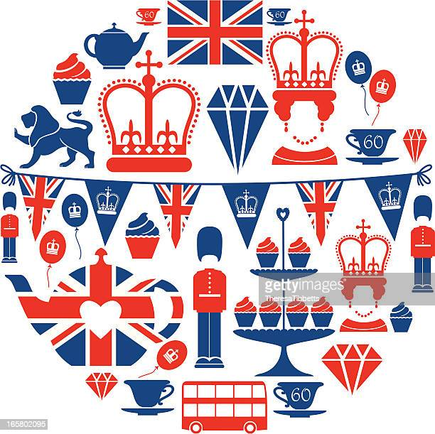 british jubilee icon set - queen royal person stock illustrations