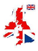British map and flag