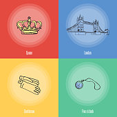 British National Symbols Vector Icons Set