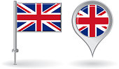 British pin icon and map pointer flag. Vector