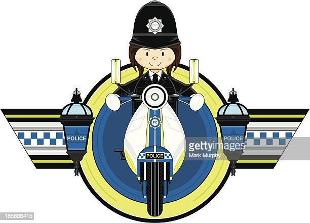 british police woman on motorbike - moped stock illustrations, clip art, cartoons, & icons