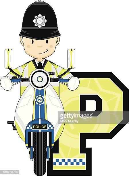 British Policemen on Motorbike Letter P