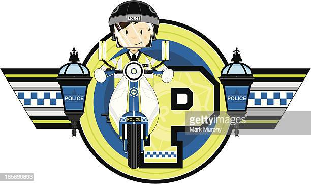 british policemen on motorbike letter p - moped stock illustrations, clip art, cartoons, & icons