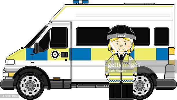 british riot police officer & van - helmet visor stock illustrations, clip art, cartoons, & icons