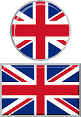 British round and square icon flag. Vector illustration