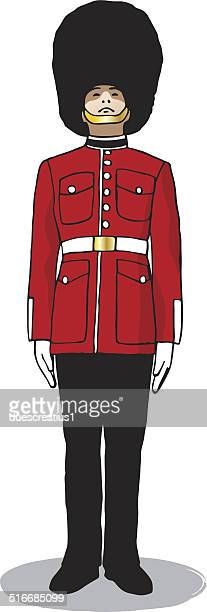 British Royal Guard Buckinham Palace london England illustration vector