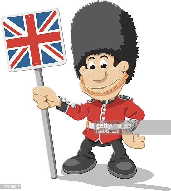 British Royal Guard Cartoon Man Union Jack Isolated