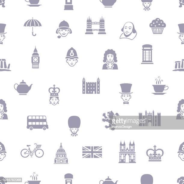 british seamless pattern - london breed stock illustrations