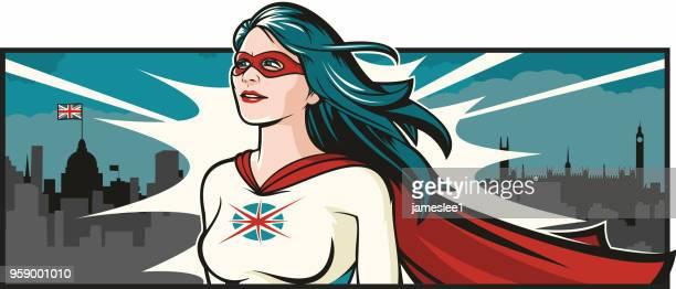 british super woman - wide screen stock illustrations