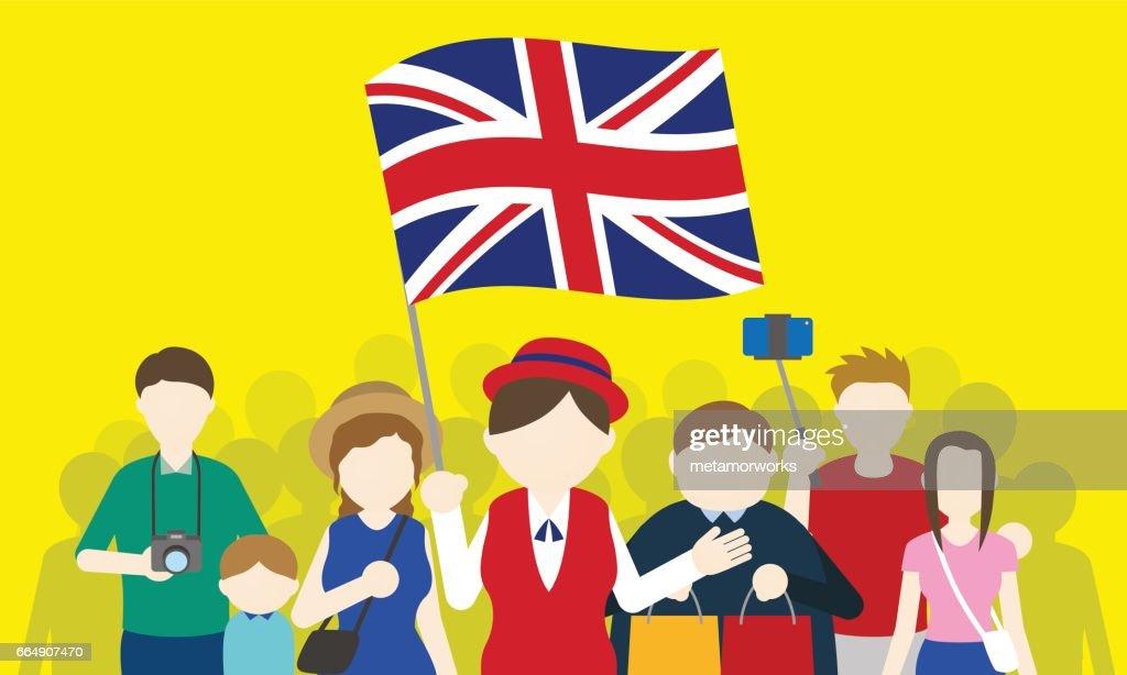 british tourists and tour guide, Inbound tourism, vector illustration