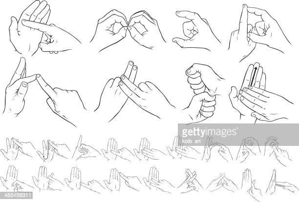 illustrations, cliparts, dessins animés et icônes de british deux mains en langue des signes - perte auditive
