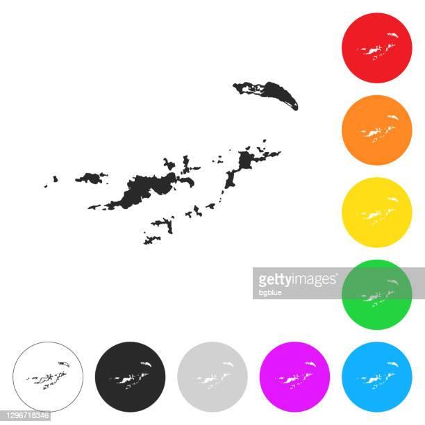イギリス領ヴァージン諸島の地図 - 異なるカラーボタン上のフラットアイコン - バージン諸島点のイラスト素材/クリップアート素材/マンガ素材/アイコン素材