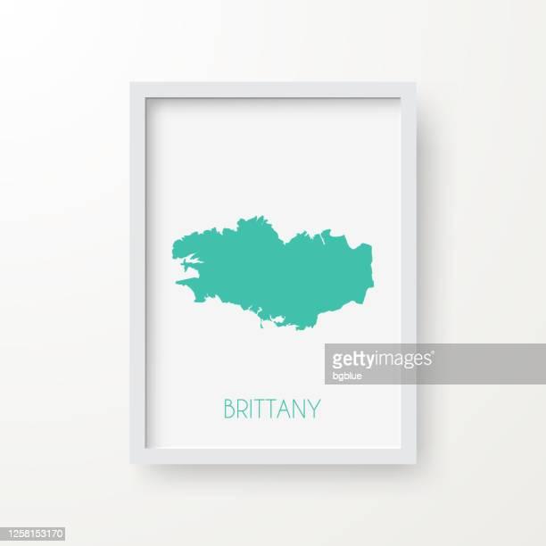 brittany map in a frame on white background - ille et vilaine stock illustrations