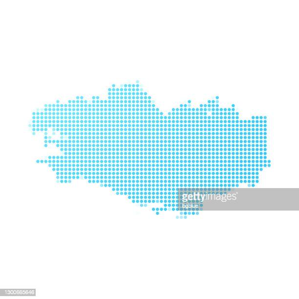 brittany map in blue dots on white background - ille et vilaine stock illustrations