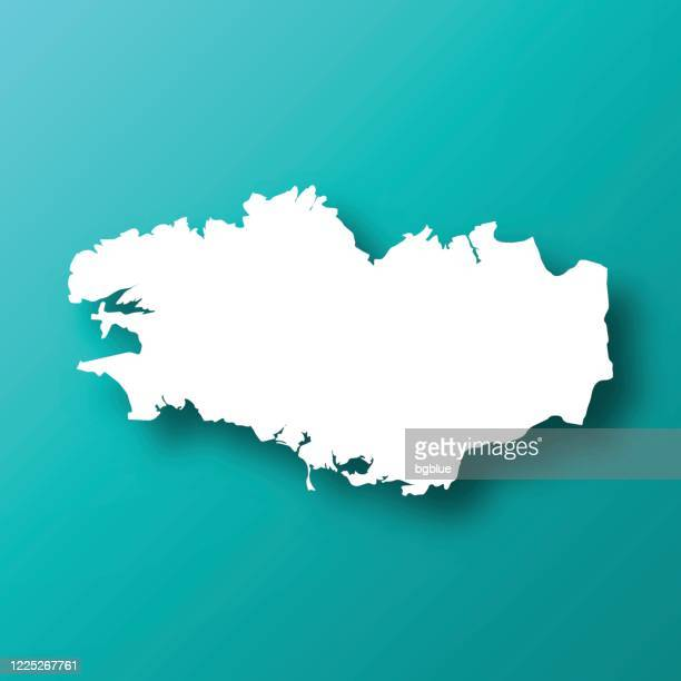 brittany map on blue green background with shadow - ille et vilaine stock illustrations