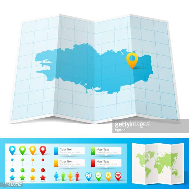 brittany map with location pins isolated on white background - ille et vilaine stock illustrations