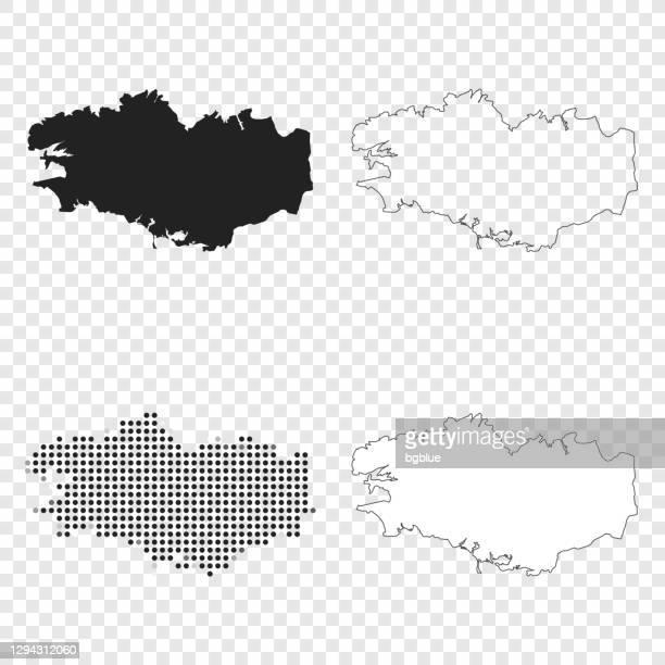 brittany maps for design - black, outline, mosaic and white - ille et vilaine stock illustrations