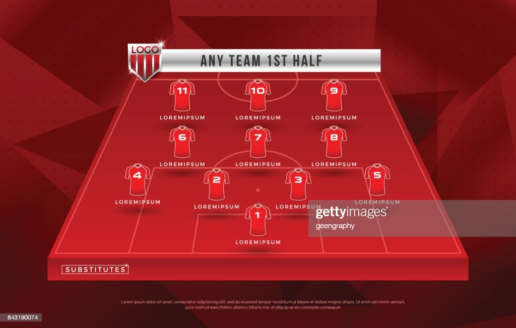 Broadcast graphic for football starting and substitutes separate text layer, football substitutes broadcast graphic for soccer starting lineup squad red color