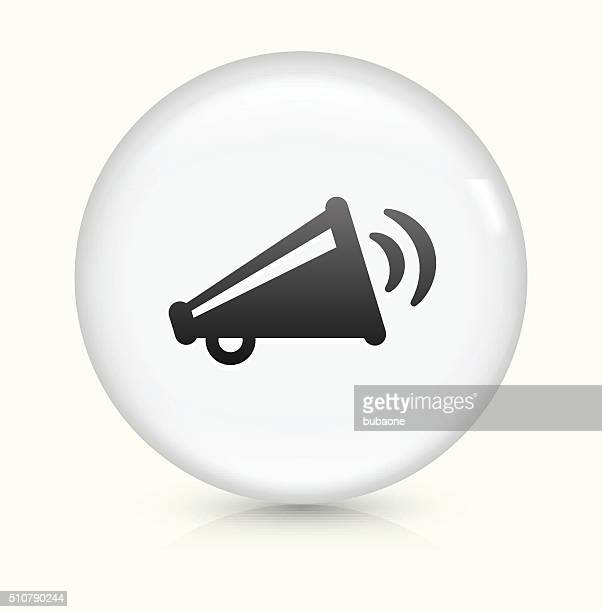 broadcasting megaphone icon on white round vector button - political rally stock illustrations, clip art, cartoons, & icons