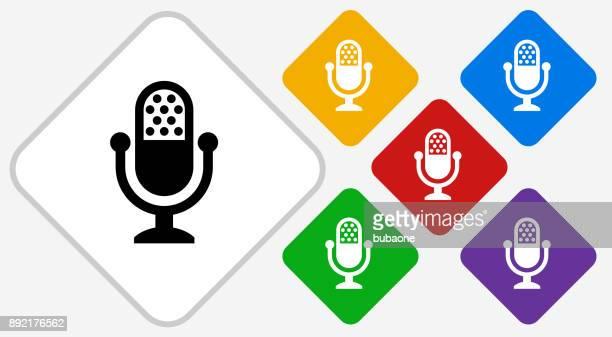 Broadcasting Microphone Color Diamond Vector Icon