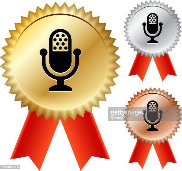 Broadcasting Microphone Gold Medal Prize Ribbons