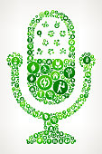 Broadcasting Microphone Nature and Environmental Conservation Icon Pattern