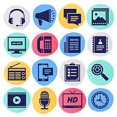 Broadcasting netwerk & toont schema vloeibare stijl Vector Icon set