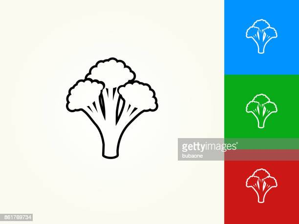 broccoli black stroke linear icon - broccoli stock illustrations, clip art, cartoons, & icons