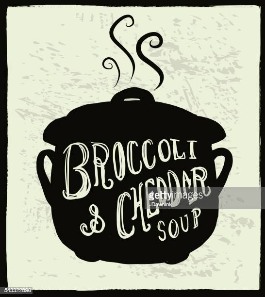 broccoli & cheddar soup cauldron label hand lettering design - cheddar cheese stock illustrations, clip art, cartoons, & icons