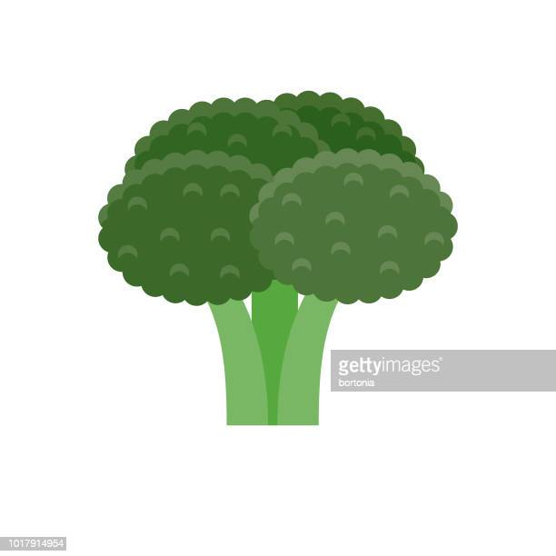broccoli flat design vegetable icon - broccoli stock illustrations, clip art, cartoons, & icons