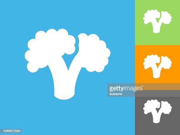 broccoli  flat icon on blue background - broccoli stock illustrations, clip art, cartoons, & icons