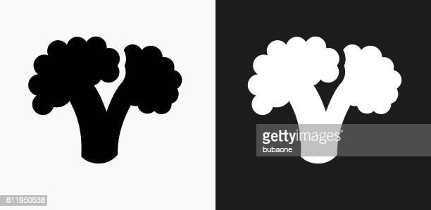 broccoli icon on black and white vector backgrounds - broccoli stock illustrations, clip art, cartoons, & icons