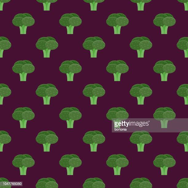 broccoli vegetables seamless pattern - broccoli stock illustrations, clip art, cartoons, & icons