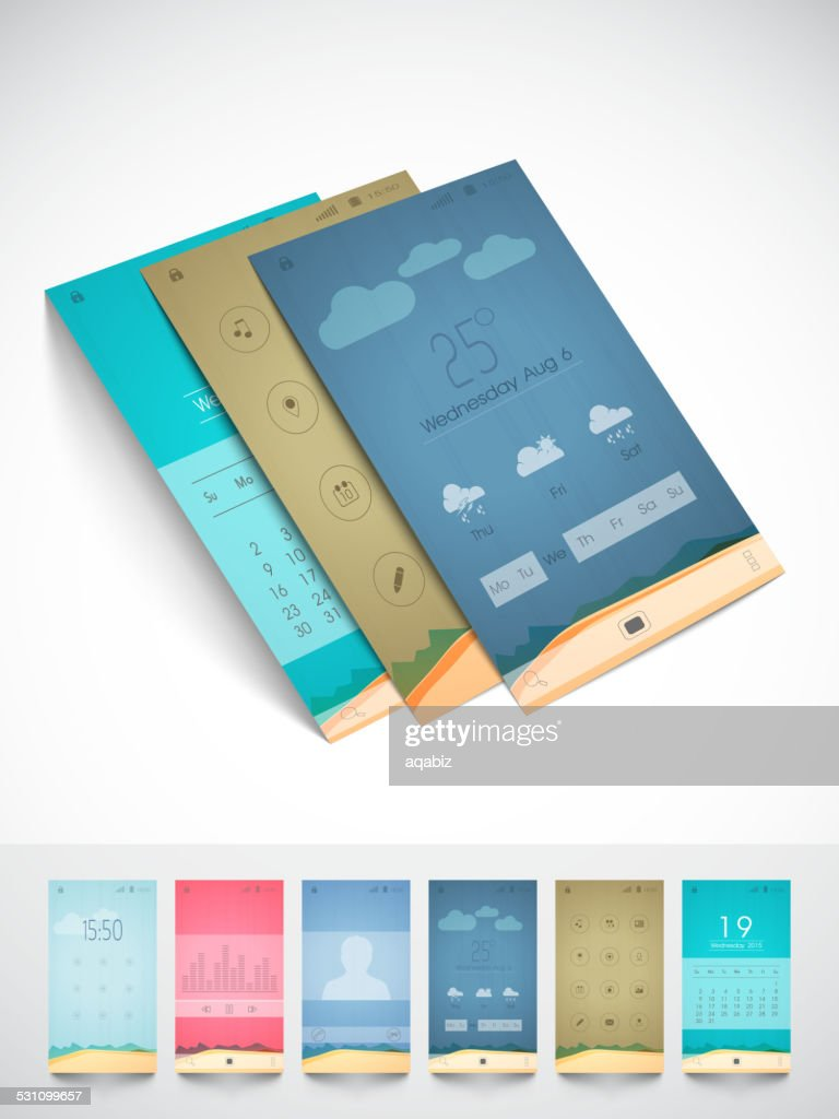Brochure and template for mobile user interface.