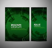 Brochure business design abstract Modern technology circles or roll up.