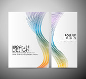Brochure business or roll up. Abstract background with colorful waves.