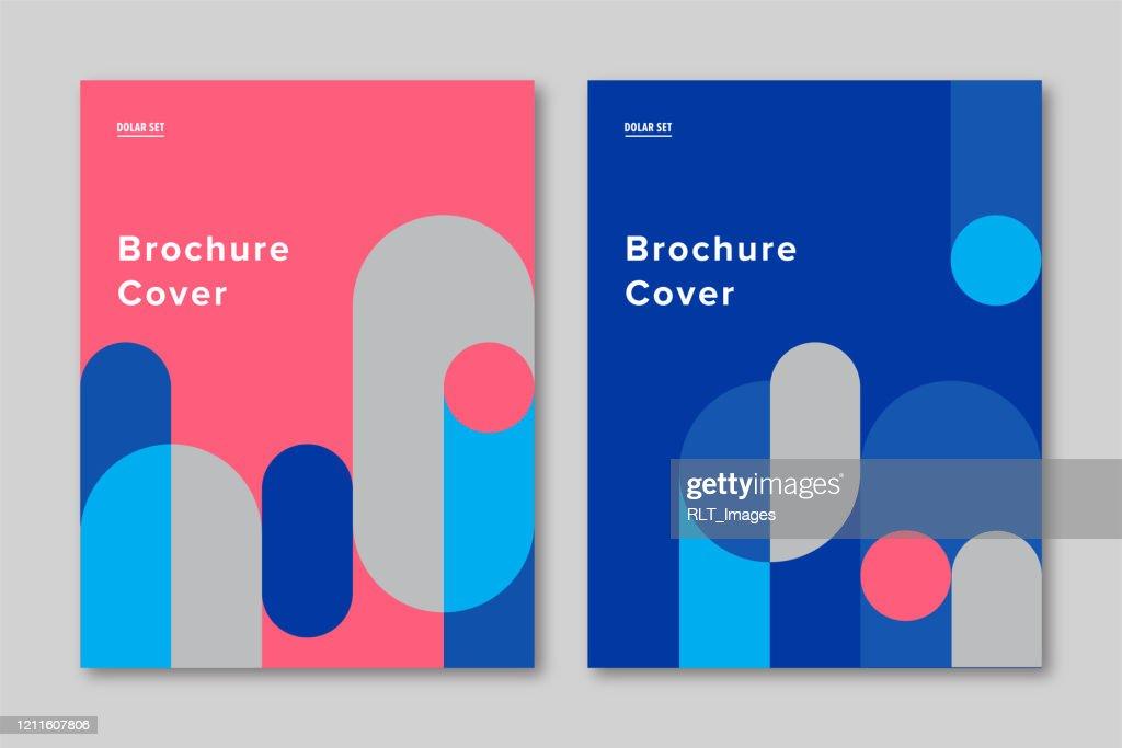Brochure cover design template with retro midcentury geometric graphics : Ilustração de stock