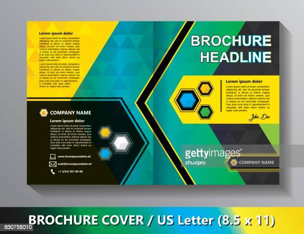 Brochure Cover Template. Abstract Triangles - Black, Green, Blue, Yellow